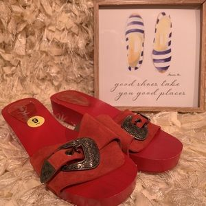 Free People western sandals red leather size 9